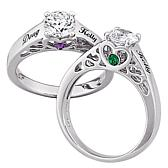 Sterling Silver Couple's Name & Birthstone CZ Ring