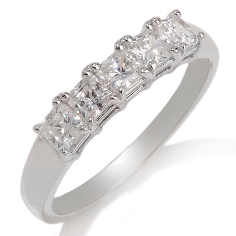 """Absolute™ 1.2ctw Round Stone and Pyramid Station 7"""" Hinged Bangle ..."""