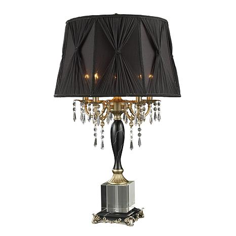 "32"" Mount Caufield 5 Light Black Faux Marble Table Lamp"