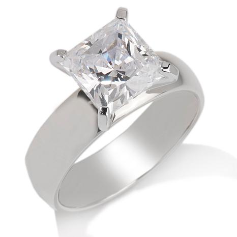 "... Engagement Rings 3ct Absoluteâ""¢ Princess-Cut Wide Band Solitaire Ring"