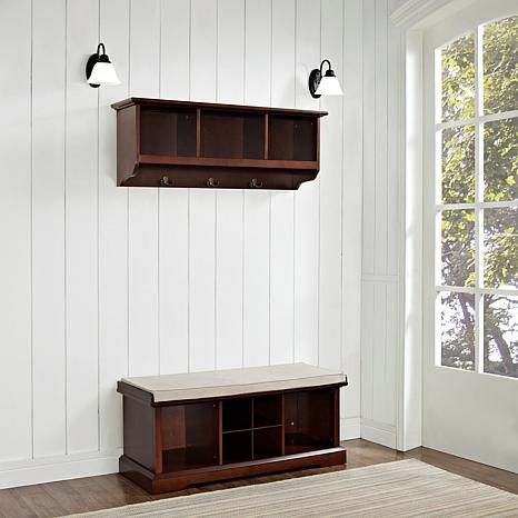 crosley brennan 2-piece entryway bench & shelf set 1