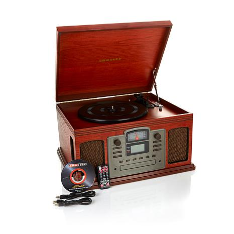crosley director 8 in 1 record player with cd recorder 7876499 hsn. Black Bedroom Furniture Sets. Home Design Ideas