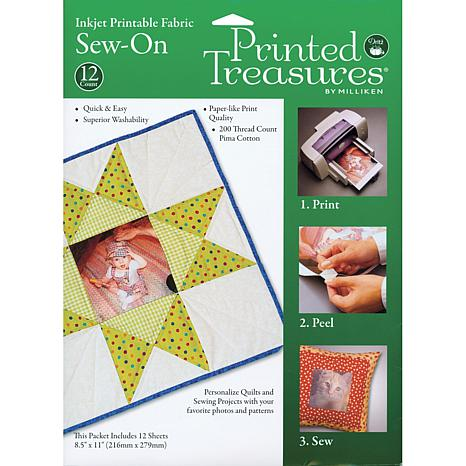 Dritz Printed Treasures 12 Sew-On Inkjet Fabric Sheets