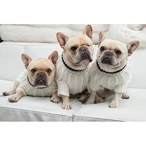Isabella Cane White Knit Dog Sweater