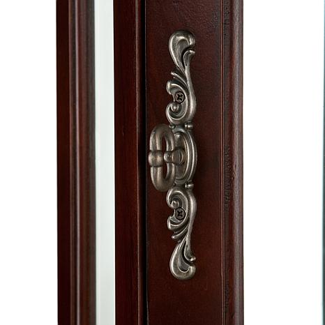 lighted corner curio cabinet with mahogany finish. Black Bedroom Furniture Sets. Home Design Ideas
