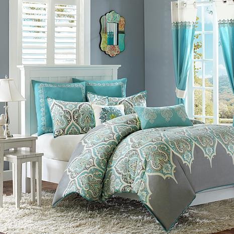 Madison Park Nisha Teal Comforter Set Full Queen
