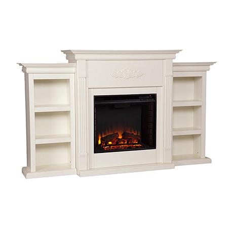 Tennyson Electric Fireplace With Bookcases Ivory 7630119 Hsn