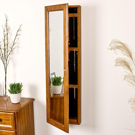 Wall-Mount Jewelry Mirror - Oak