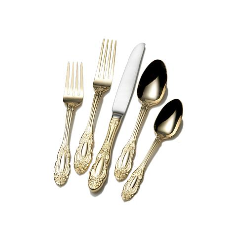 wallace duchess gold plated 65 piece flatware set. Black Bedroom Furniture Sets. Home Design Ideas