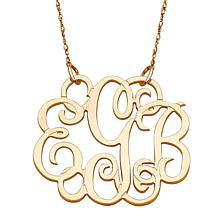 "10K Gold 3-Initial Fancy Monogram 18"" Necklace"