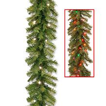 9 ft. Norwood Fir Garland with Battery Operated Dual Co