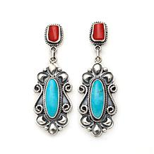 Chaco Canyon Kingman Blue Turquoise and Coral Earrings
