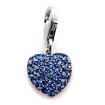 Charming Silver Inspirations Blue Crystal Heart Charm