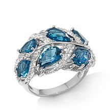 "Colleen Lopez London Blue Topaz and Gem ""Leaf"" Ring"