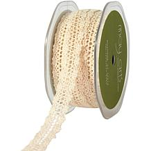 "Crocheted Thread Ribbon in Natural - 1-1/2"" x 15 Yards"