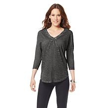 DKNY Jeans Double V-Neck Lace-Trim Top