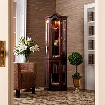 Lighted Corner Curio Cabinet with Mahogany Finish