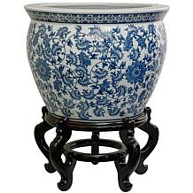 Oriental Furniture Floral Blue/White Porcelain Fishbowl