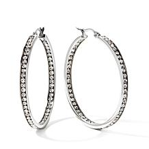"Stainless Steel Crystal Inside/Outside 1-1/2"" Hoops"