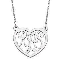 Sterling Silver 3-Initial Monogram Heart Necklace