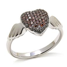 "0.2ctw Red Diamond ""Winged Heart"" Sterling Silver Ring"