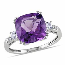 10K Gold Amethyst, Created Sapphire and Diamond Ring