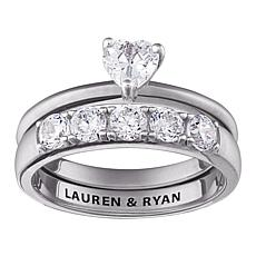 1.95ct CZ Heart Of Love Engraved 2pc Wedding Ring Set