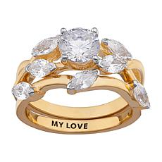 "4.57ctw CZ ""Willow"" Engraved 2-piece Wedding Ring Set"
