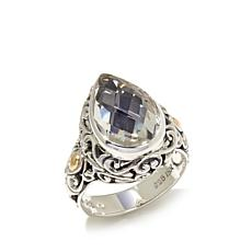 Bali Designs 5.8ct White Topaz 2-Tone Ring