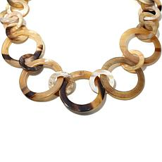 "Bé Bold Circle Link Natural Horn 28"" Necklace"