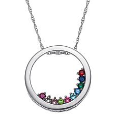 Birthstone Crystal Sterling Silver Mother's Pendant