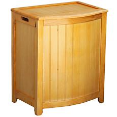 Bowed Front Wainscott Wood Laundry Hamper
