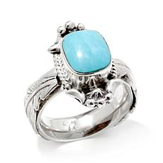 "Chaco Canyon Turquoise ""Feather"" Sterling Silver Ring"