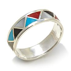 Chaco Canyon Zuni-Design Channel Inlay Gemstone Ring