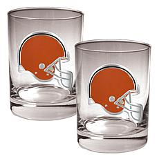 Cleveland Browns 2pc Rocks Glass Set