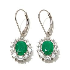 Colleen Lopez 3.34ct Emerald and White Topaz  Earrings