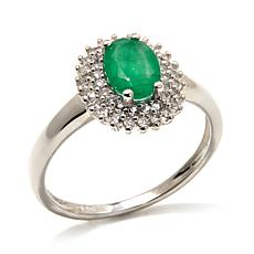 Colleen Lopez .83ct Emerald & White Topaz Cocktail Ring