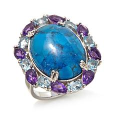 Colleen Lopez Turquoise, Amethyst & Blue Topaz Ring