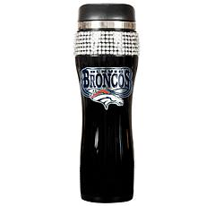 Denver Broncos Black Stainless Steel Bling Travel Tumbl
