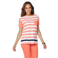 DG2 by Diane Gilman Contrast Stripe Pocket Top