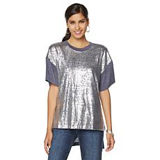 DG2 by Diane Gilman Foil-Print Hi-Low Knit Top