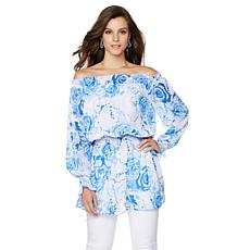 DG2 by Diane Gilman Off-Shoulder Floral Peasant Blouse