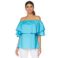DG2 by Diane Gilman Off-the-Shoulder Ruffle Blouse