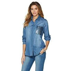 DG2 by Diane Gilman Sequin Pocket Denim Shirt