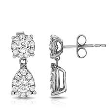 Diamond Couture 1.02ctw Diamond Round and Pear Earrings