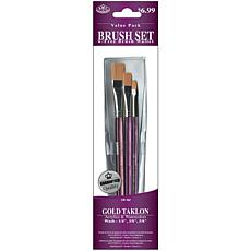 Gold Taklon 3-pc. Brushes - Glaze 1/4, 3/8, 5/8