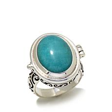 "Himalayan Gems™ Oval Amazonite ""Secret Locket"" Ring"