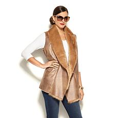 IMAN Platinum Luxury Faux Shearling Draped Vest
