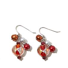 Imperial Pearls Cultured Pearl/Garnet/Glass Earrings