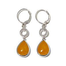 Jade of Yesteryear Yellow Jade and CZ Teardrop Earrings